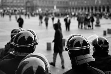 Police oversee the Place du Capitole in Toulouse during anti-CPE protests